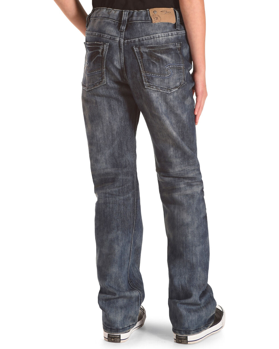 Silver Boys' Zane Dark Wash Distressed Detail Jeans - Bootcut, Indigo, hi-res