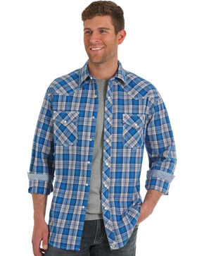Wrangler 20X Men's Blue Plaid Competition Advanced Comfort Shirt , Blue, hi-res