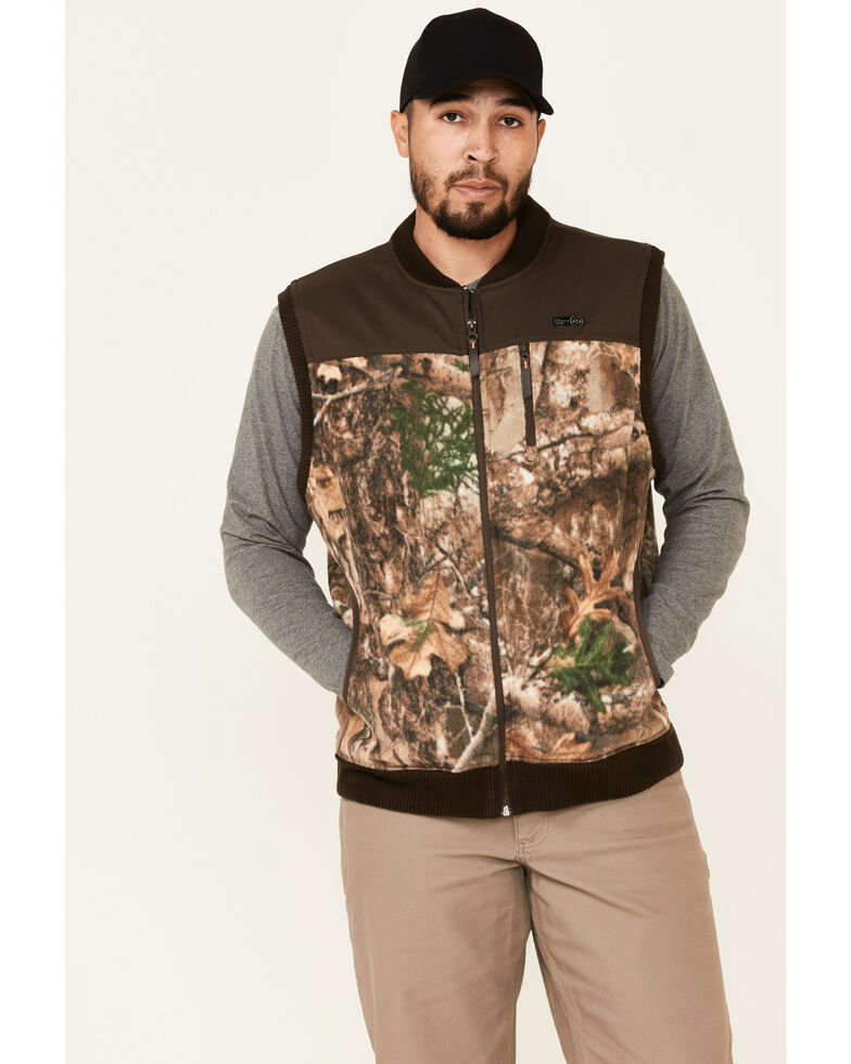 Wrangler ATG Men's All-Terrain Realtree Camo Fleece Zip-Front Bomber Vest, Camouflage, hi-res