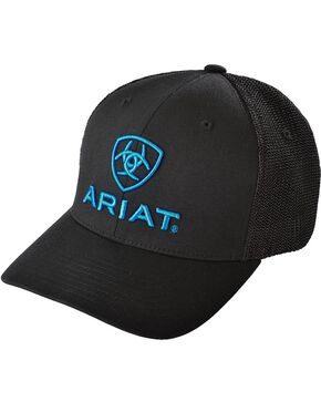 Ariat Blue Logo Embroidered Cap, Black, hi-res