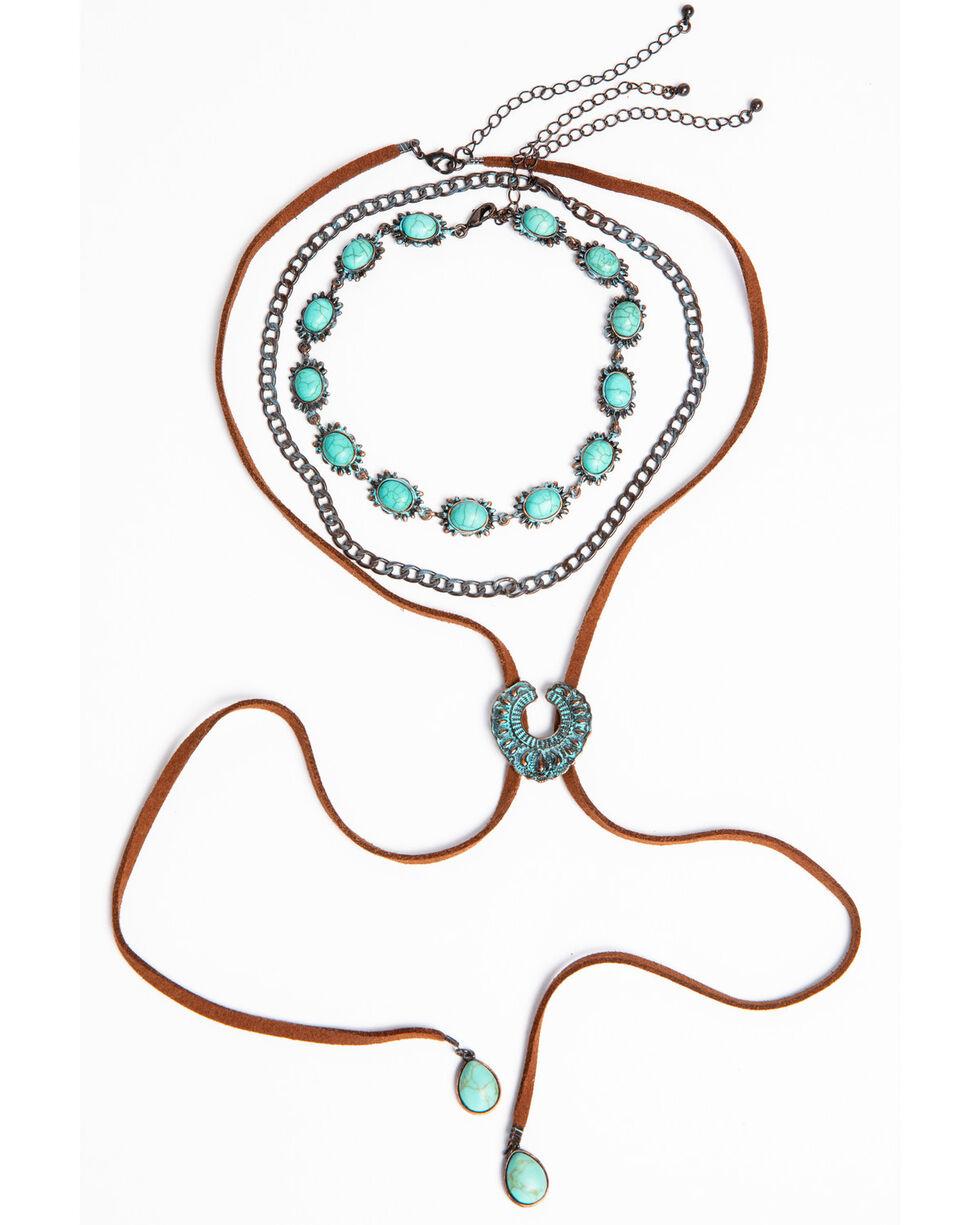 Shyanne Women's Patina Crescent Choker Bolo Necklace Set, Turquoise, hi-res