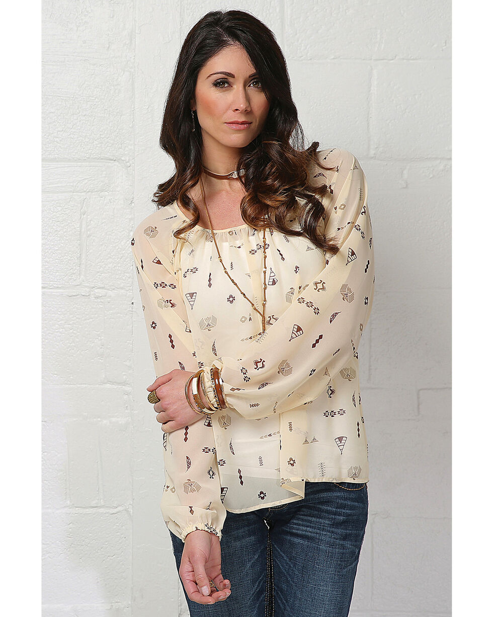 Cruel Girl Women's Cream Southwestern Print Blouse , Cream, hi-res