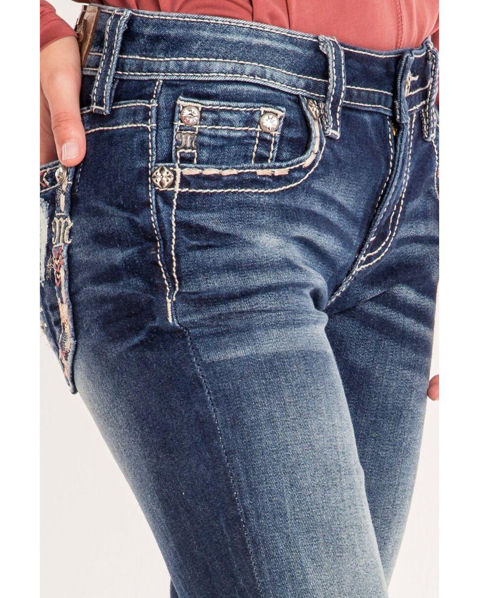 Miss Me Women's Floral Pocket Boot Cut Jeans, Blue, hi-res