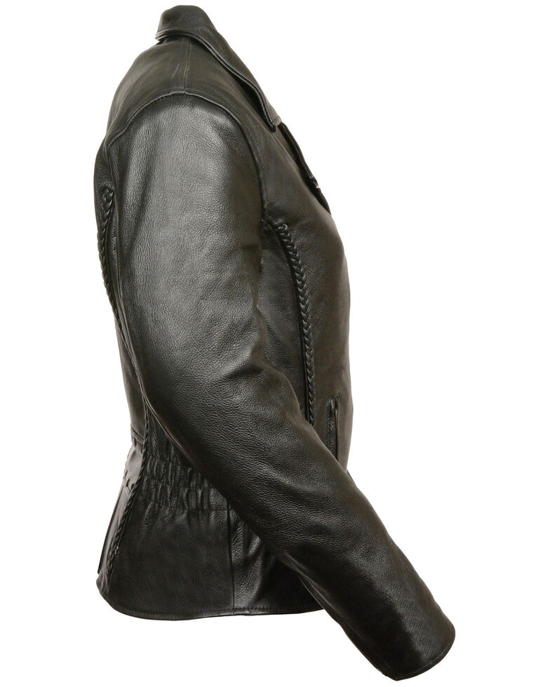 Milwaukee Leather Women's Braid & Stud Leather Jacket - 3X, Black, hi-res