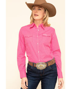 Wrangler Women's Tough Enough to Wear Pink Long Sleeve Western Shirt , Pink, hi-res