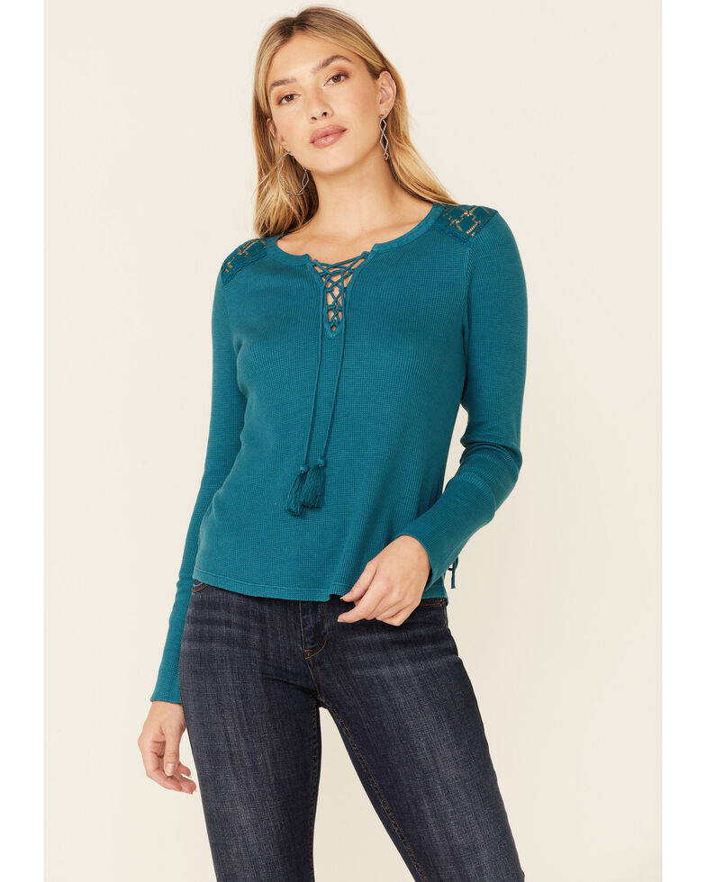 Idyllwind Women's Don't Mesh With Me Henley Top , Blue, hi-res