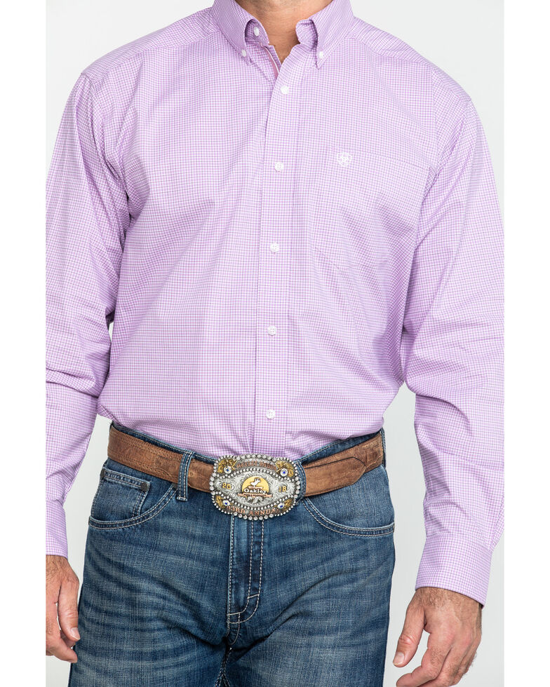 Ariat Men's Foothill Small Plaid Long Sleeve Western Shirt - Tall , Purple, hi-res