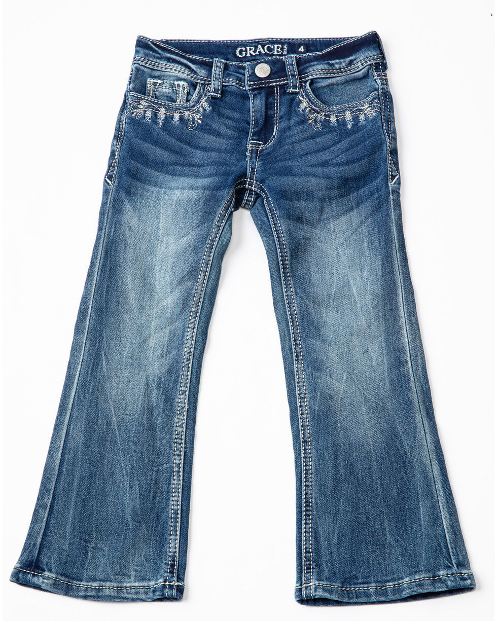 Grace In LA Girls' Cross Bling Boot Cut Jeans , Blue, hi-res