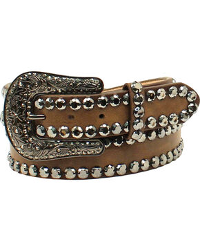 Blazin Roxx Women's Rhinestone Edges Western Belt , Brown, hi-res