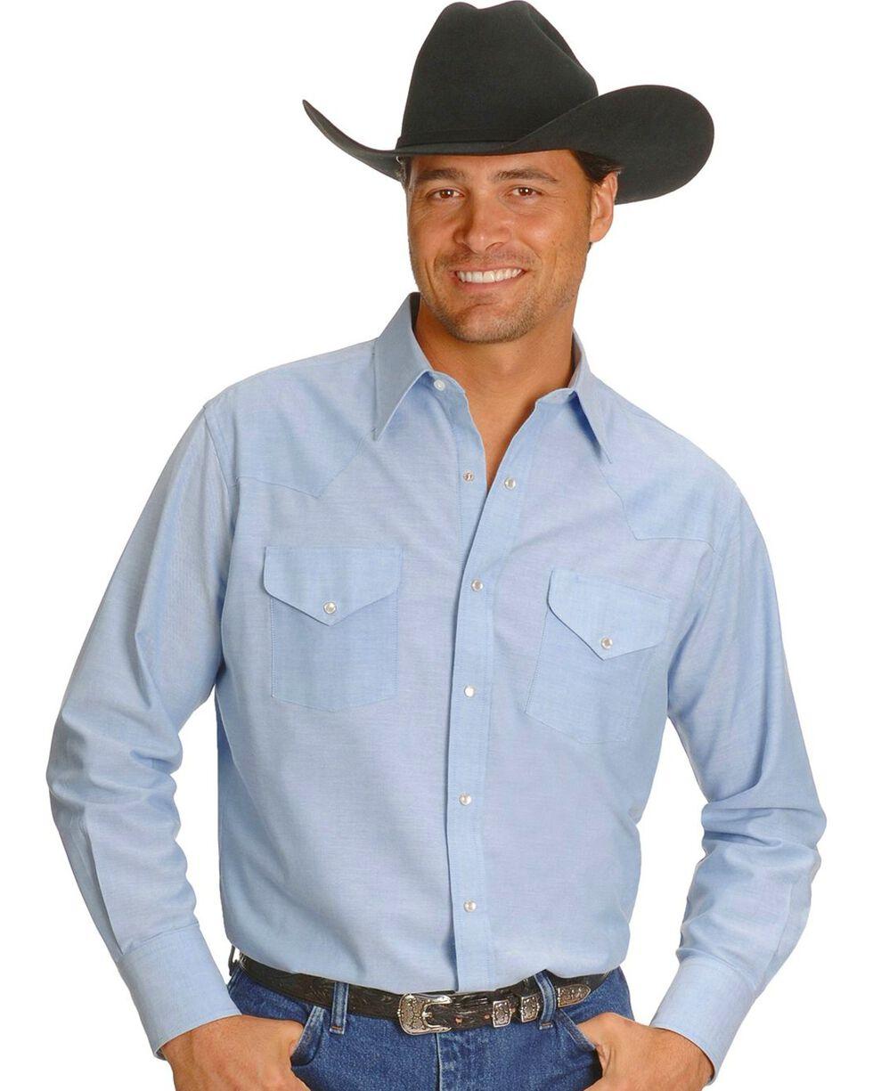 Ely Solid Oxford Western Shirt - Big, Tall, Big/Tall, Light Blue, hi-res