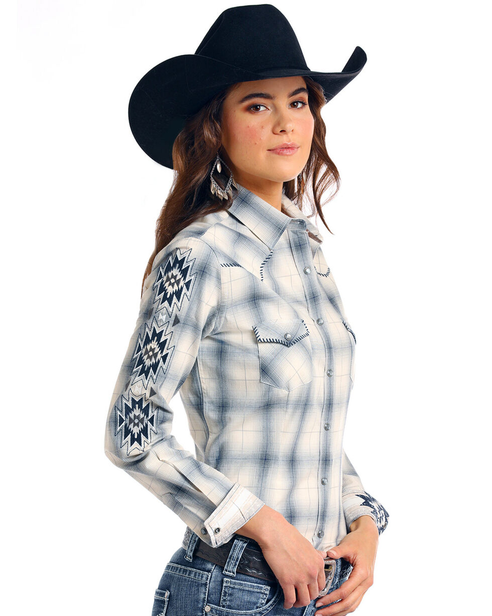 Rough Stock by Panhandle Women's Thurston Antique Plaid Long Sleeve Western Shirt - Plus, Multi, hi-res
