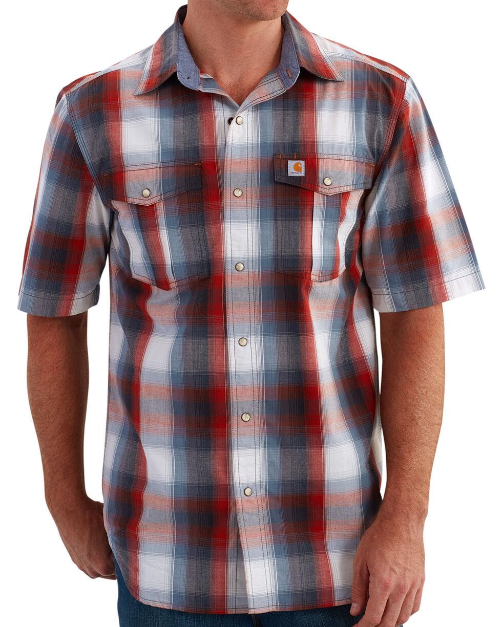 Carhartt Men's Plaid Short Sleeve Shirt, Red, hi-res