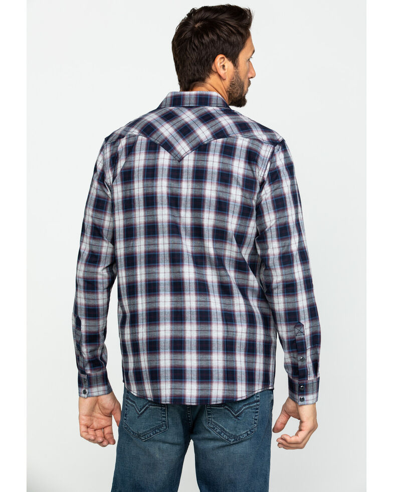 Cody James Men's Plainsman Heathered Plaid Long Sleeve Western Shirt - Big , Grey, hi-res