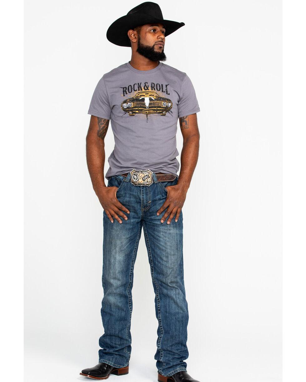Rock & Roll Cowboy Men's Steer Hood Ornament Muscle Car T-Shirt, Charcoal, hi-res