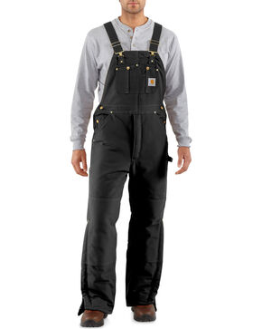 Carhartt Men's Artic Quilt Lined Bib Overalls, Black, hi-res