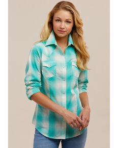 4ad977a9 Wrangler Women's Aqua Plaid Snap Long Sleeve Western Shirt. $29.99. Wrangler  Boys Blue Classic Button ...