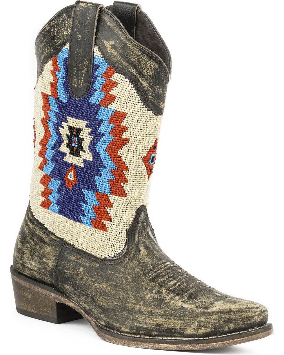 Roper Women's Azteca Beaded Shaft Western Boots, Brown, hi-res