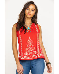 Miss Me Women's Red Boho Keyhole Tank Top, Red, hi-res
