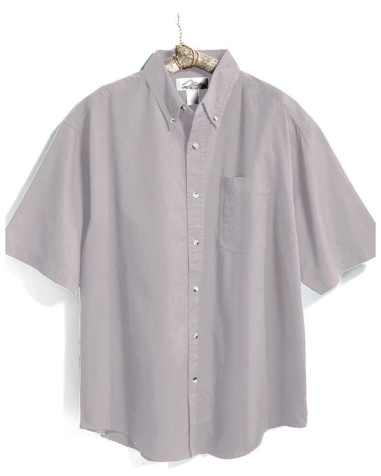 Tri-Mountain Men's Light Grey Solid Recruit Short Sleeve Work Shirt , Grey, hi-res