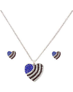 Shyanne® American Flag Heart Jewelry Set, Silver, hi-res