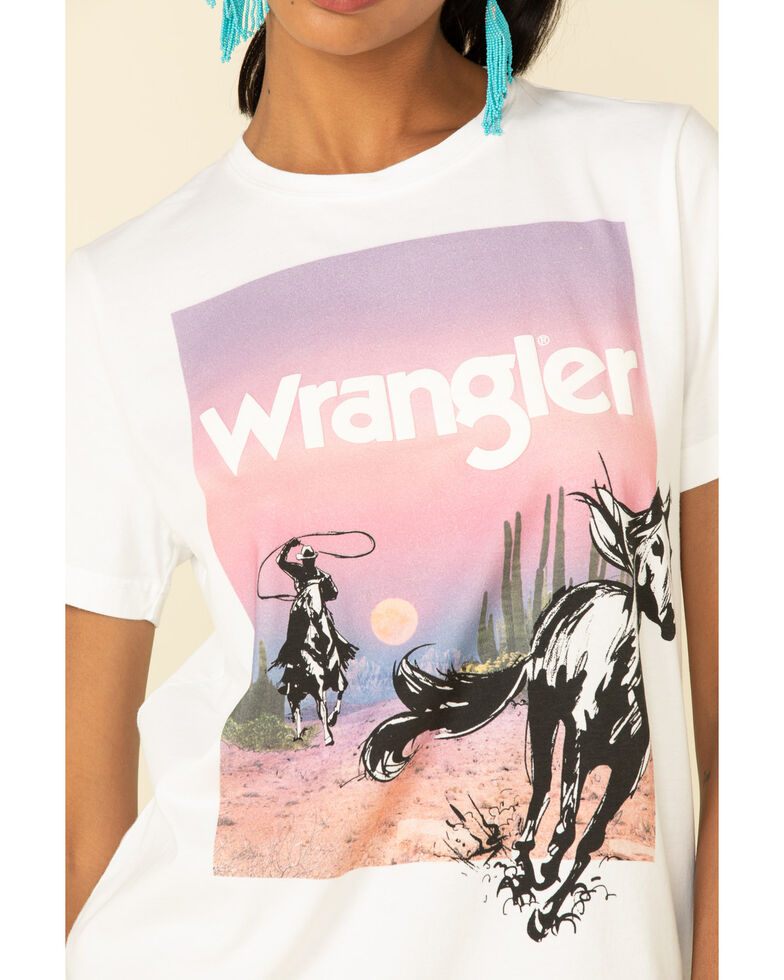 Wrangler Retro Women's Horse Sunset Graphic Tee, White, hi-res