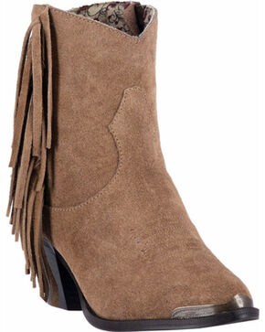 Dingo Women's Gigi Fringe Booties, Tan, hi-res