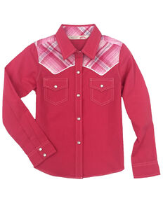 Cumberland Outfitters Girls' Plaid Yoke Long Sleeve Western Shirt , Pink, hi-res