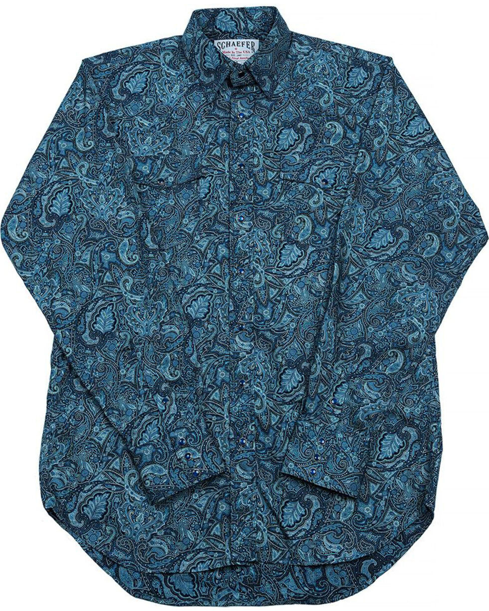 Schaefer Outfitter Men's Blue Frontier Paisley Western Snap Shirt - 2XL, Blue, hi-res