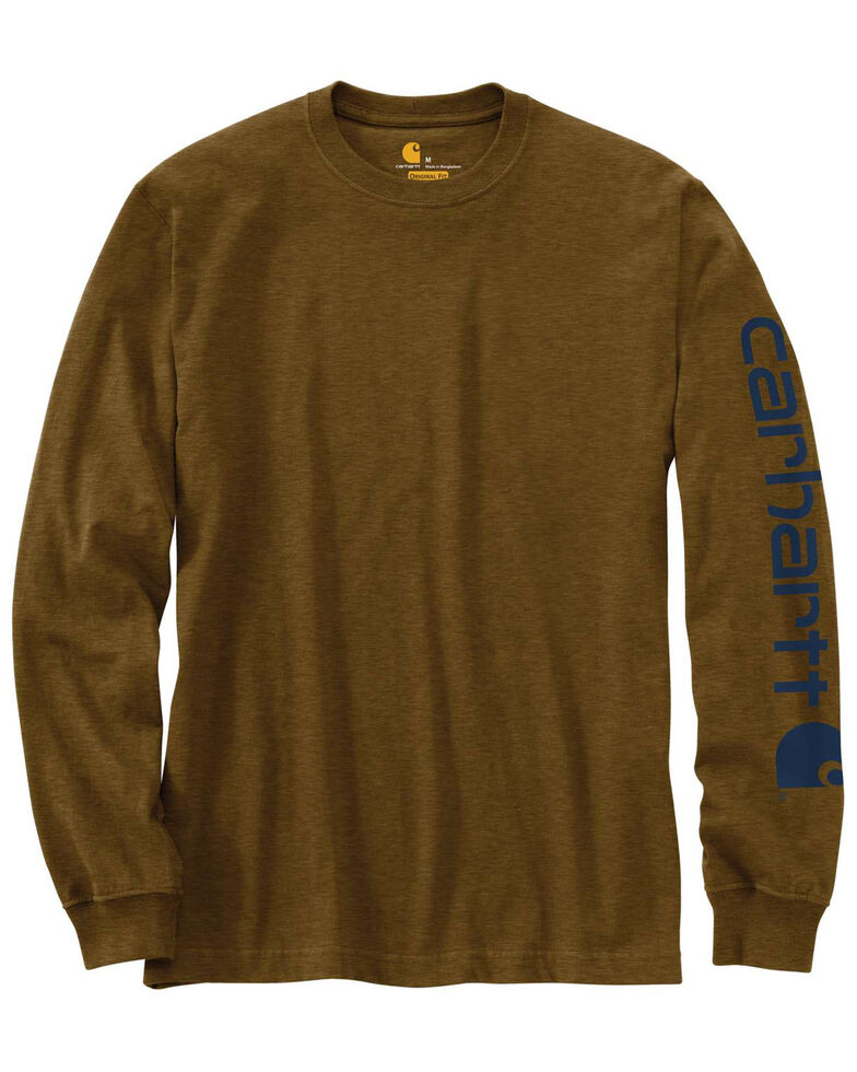 Carhartt Men's Signature Logo Sleeve Knit Work T-Shirt - Big & Tall, Brown, hi-res