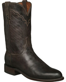 Lucchese Men's Shane Round Toe Goat Leather Western Boots, Chocolate, hi-res