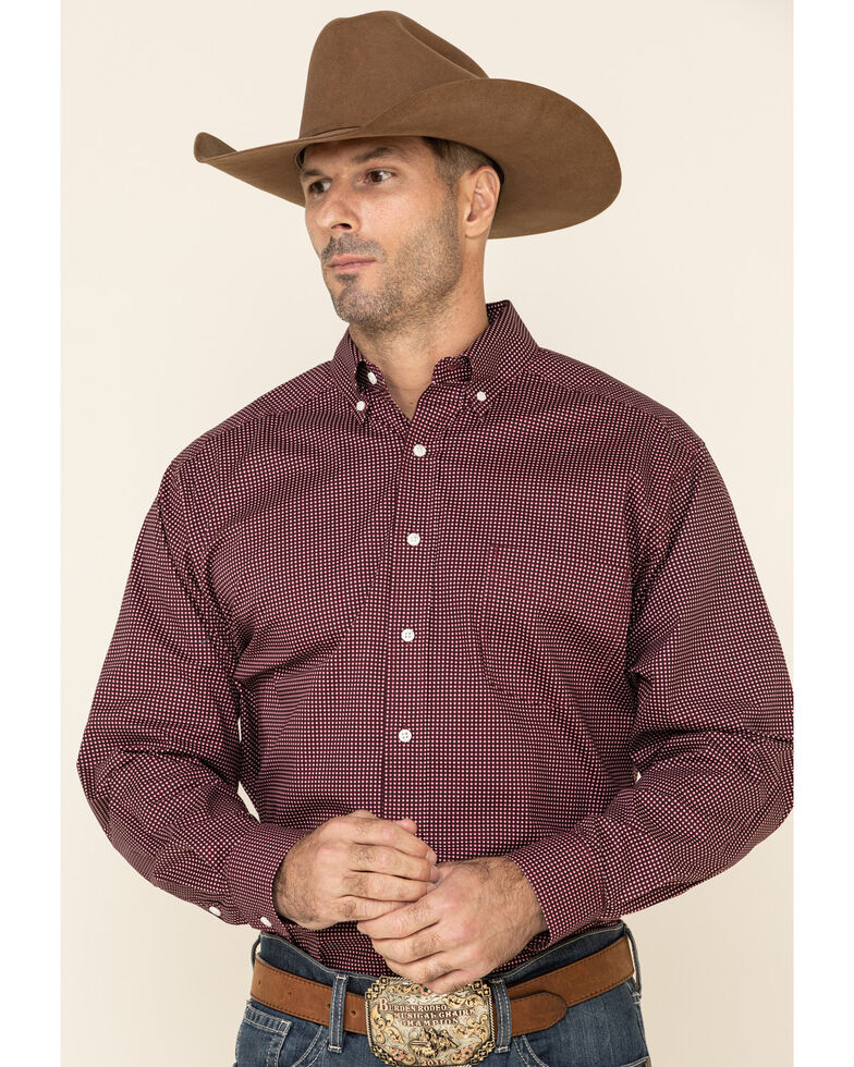 Tuf Cooper Men's Red Stretch Small Geo Print Long Sleeve Western Shirt , Red, hi-res