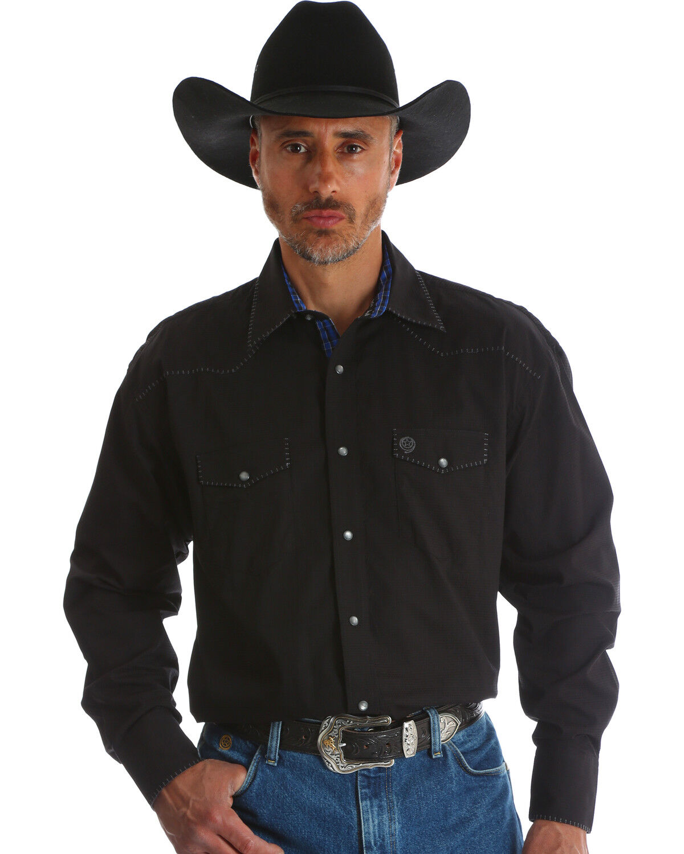 Western Men's Dress Shirts Black