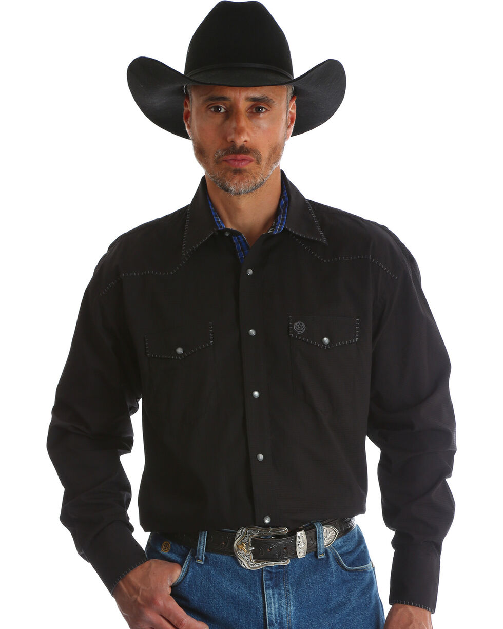 Wrangler George Strait Men's Troubadour Black Long Sleeve Shirt, Black, hi-res