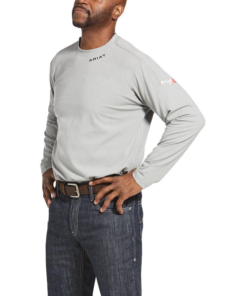 Ariat Men's Silver Fox FR Baselayer Long Sleeve Work T-Shirt - Big , Silver, hi-res