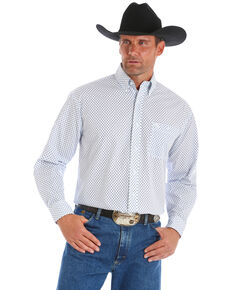 George Strait by Wrangler Men's Dot Geo Long Sleeve Western Shirt, Blue/white, hi-res