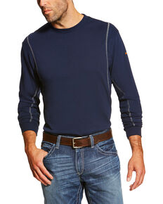 Ariat Men's FR Crew Neck Long Sleeve Shirt, Navy, hi-res