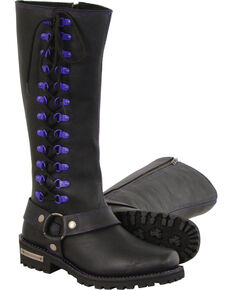 "Milwaukee Leather Women's Black 14"" Purple Accent Lacing Boots - Square Toe , Black, hi-res"