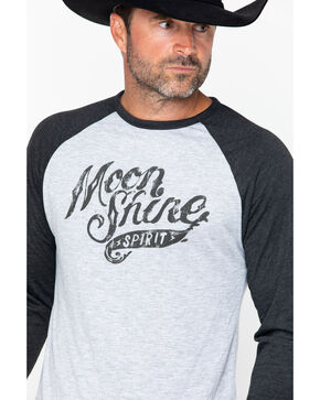 Moonshine Spirit Men's Distressed Logo Baseball Tee, Black, hi-res