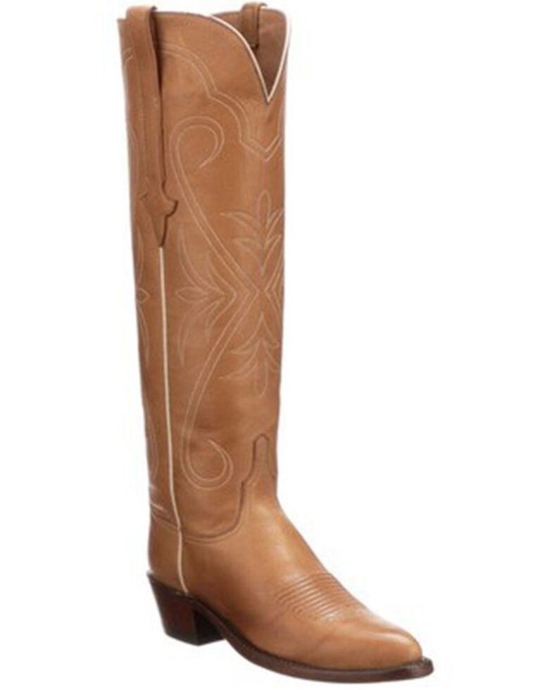 Lucchese Women's Saltillo Tall Western Boots - Round Toe, Cognac, hi-res