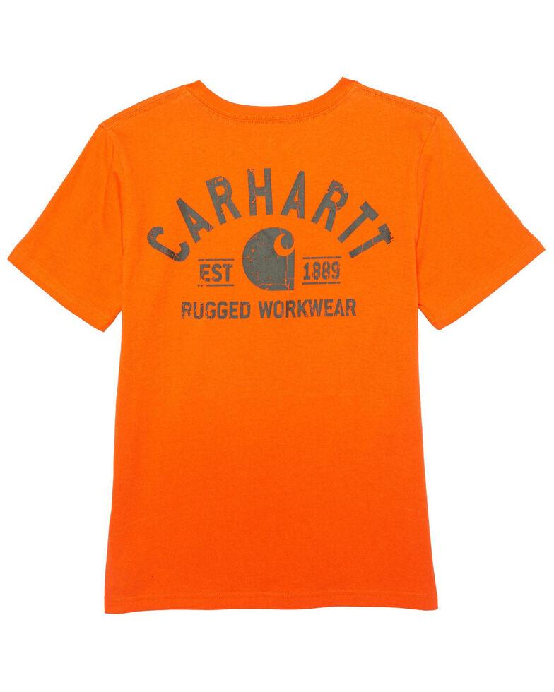 Carhartt Boys' Orange Back Logo Short Sleeve T-Shirt , Orange, hi-res