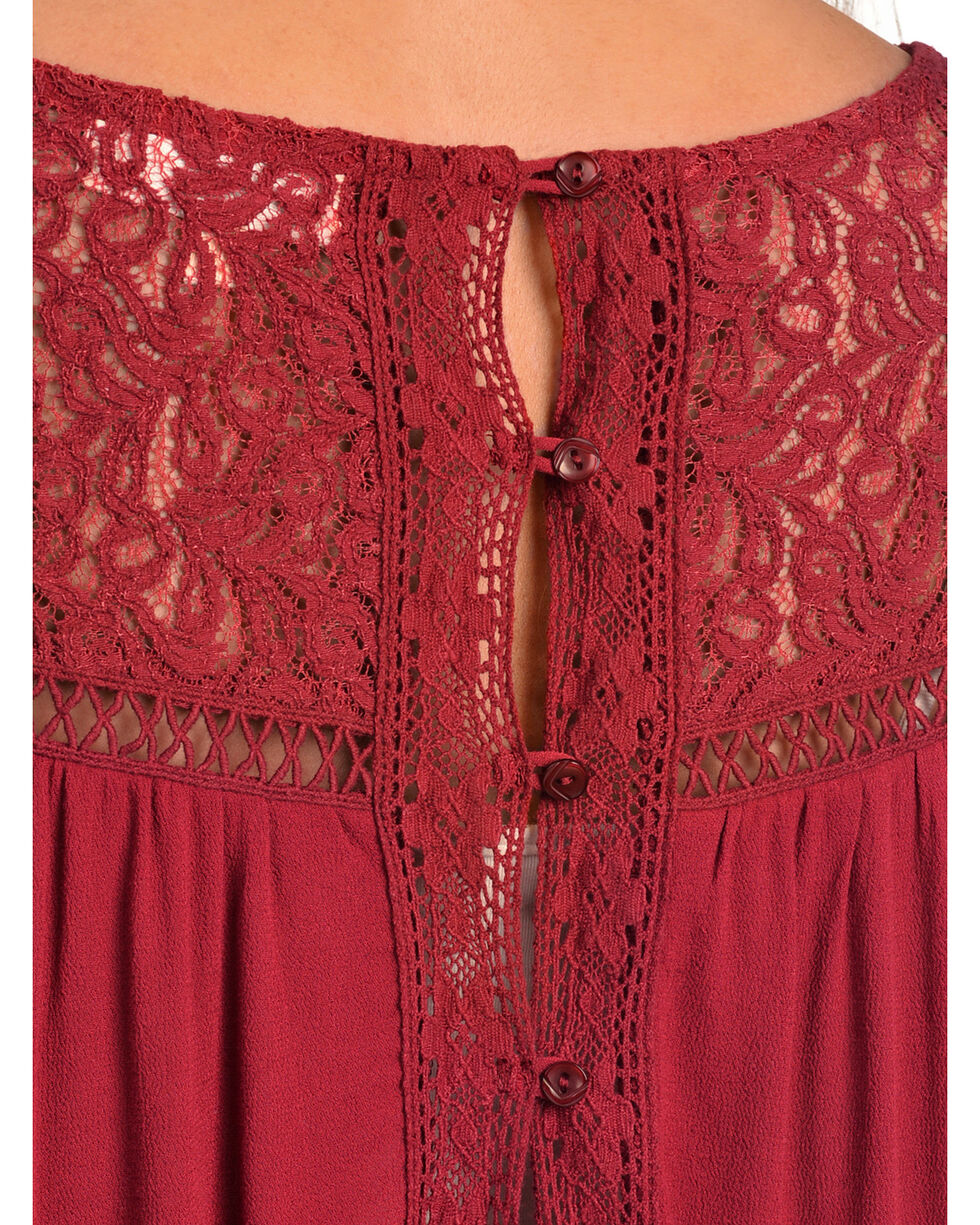 Black Swan Women's Genevieve Crochet Trim Top, Red, hi-res
