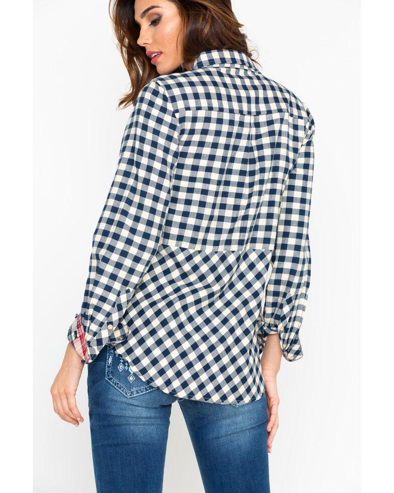 Tasha Polizzi Women's Plaid Long Sleeve Rodeo Shirt, Navy, hi-res