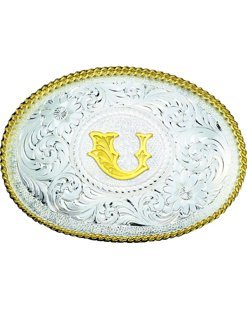 Montana Silversmiths Engraved Initial U Western Belt Buckle, Multi, hi-res