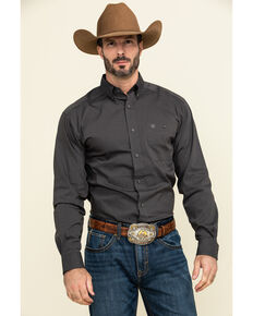 Ariat Men's Grey Air Flow Stretch Long Sleeve Western Shirt , Grey, hi-res