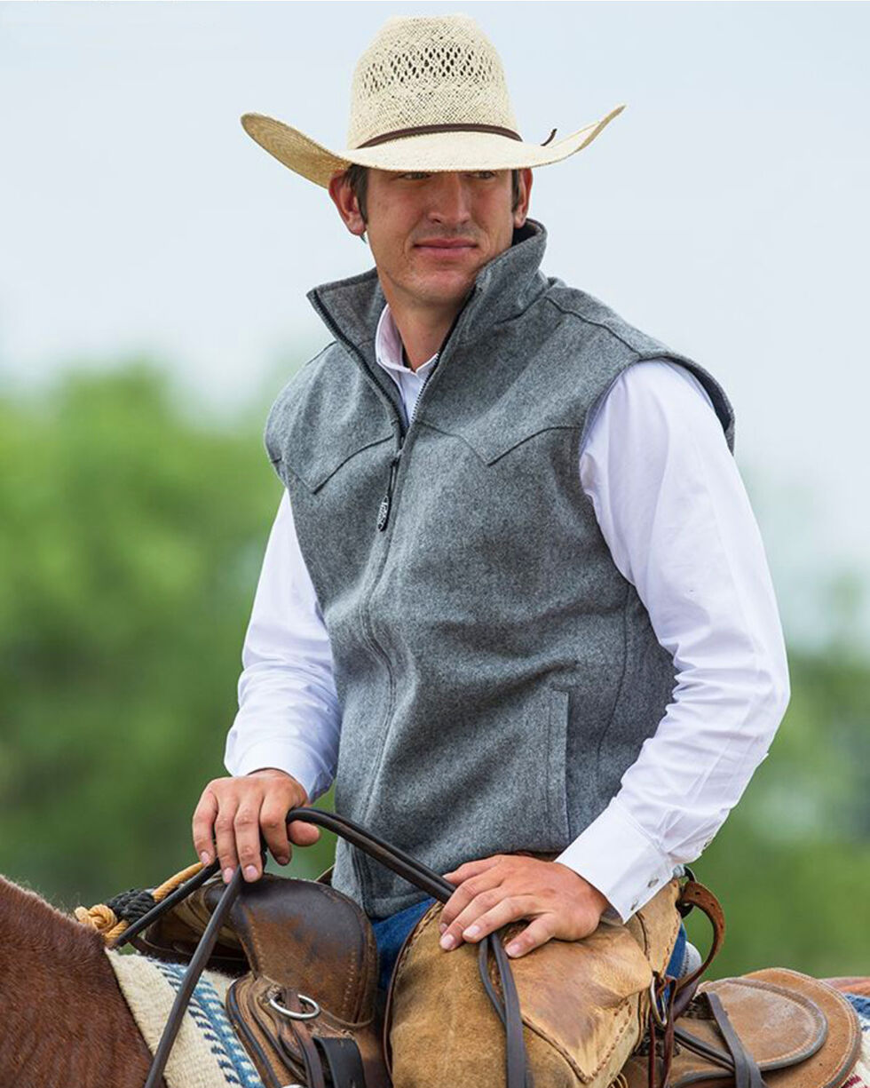 Schaefer Men's Heather Grey Arena Melton Wool Vest - 3XL, Grey, hi-res
