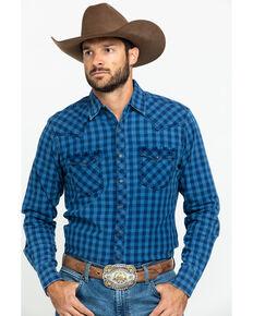 Wrangler Retro Men's Blue Check Plaid Long Sleeve Western Shirt - Tall , Blue, hi-res