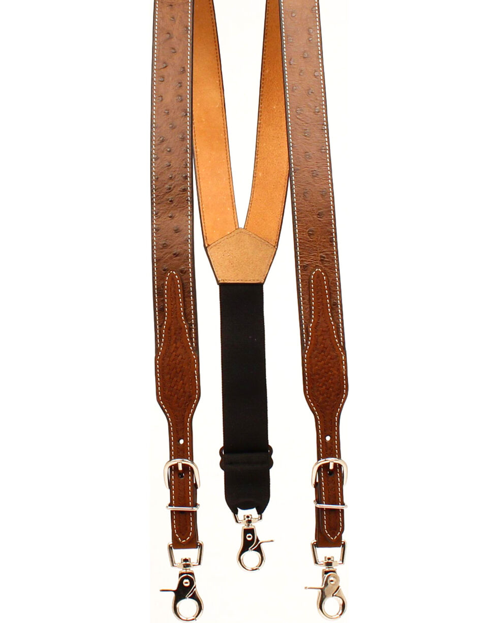 Nocona Men's Leather Ostrich Print Suspenders , Tan, hi-res