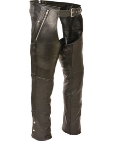 Milwaukee Leather Men's Black Four Pocket Thermal Lined Chaps - 5X, Black, hi-res