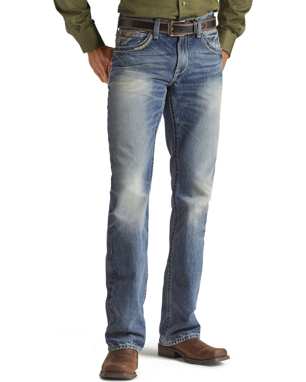 Ariat Men's M5 Low Rise Straight Leg Jeans, Med Stone, hi-res