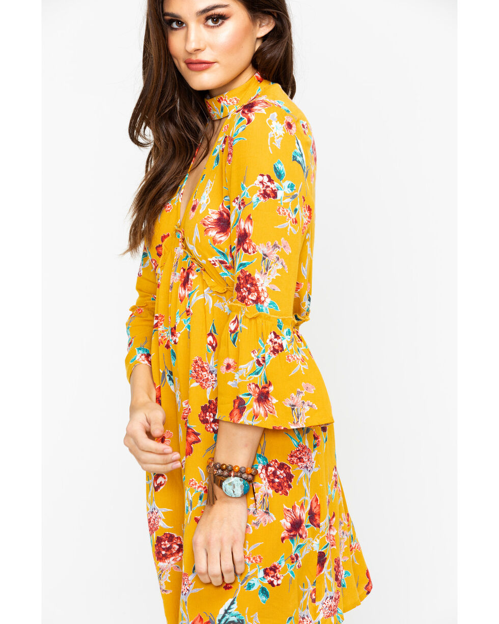 Band Of Gypsies Women's Floral Print Bell Sleeve Choker Dress , Dark Yellow, hi-res